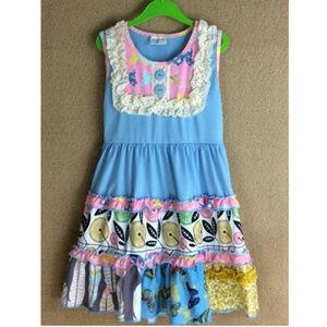Other - Boutique Blue Sleeveless Ruffle Dress